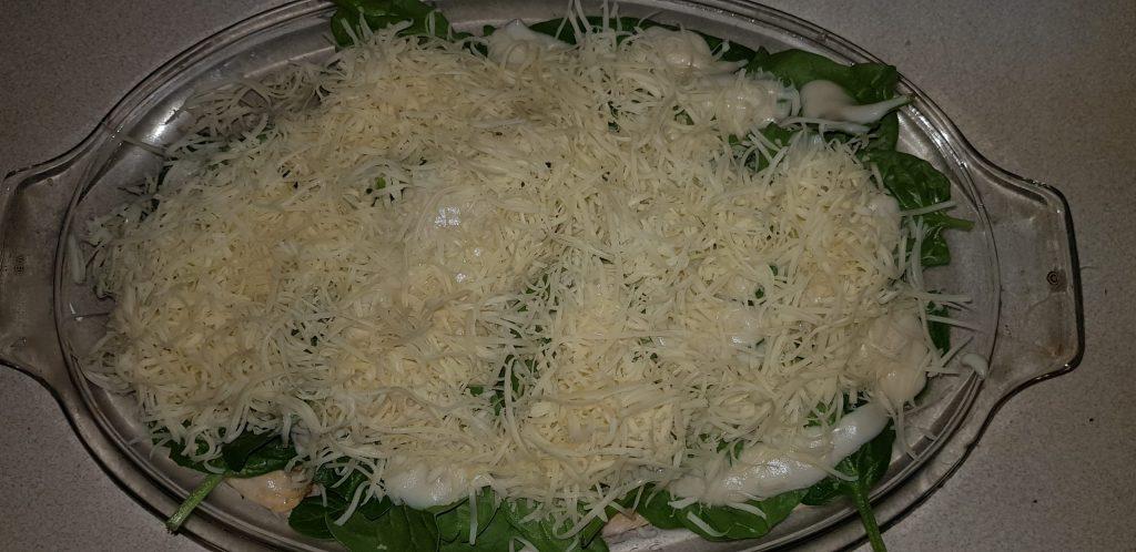 besameles csirkemell sajttal, spenóttal